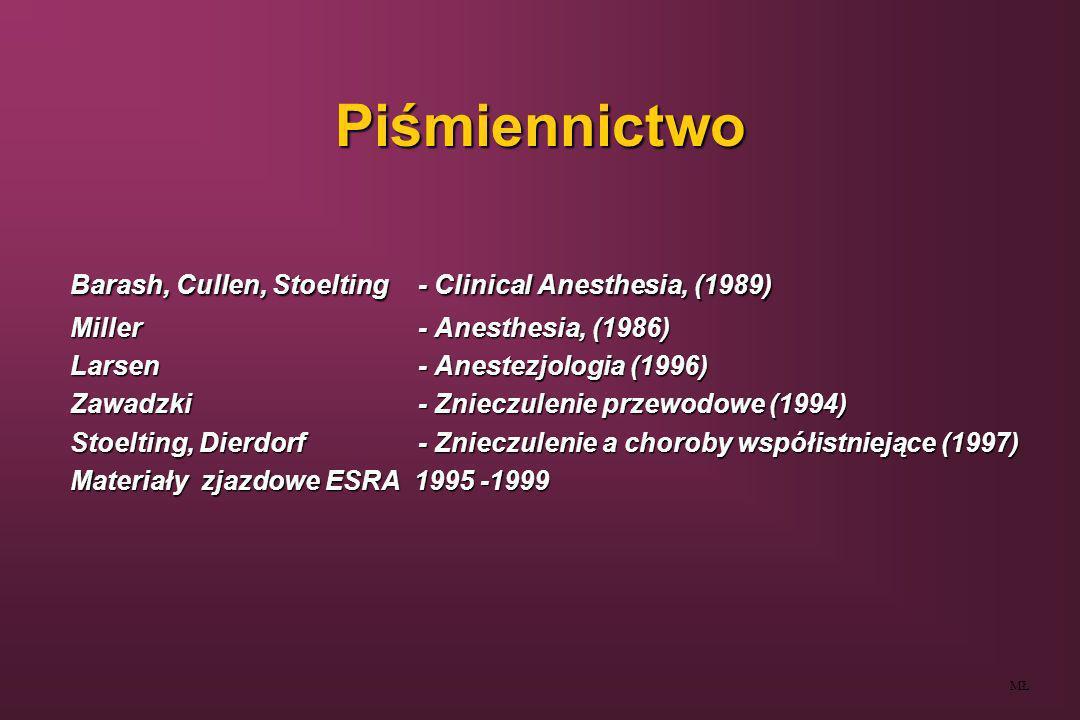 Piśmiennictwo Barash, Cullen, Stoelting - Clinical Anesthesia, (1989) Miller- Anesthesia, (1986) Larsen- Anestezjologia (1996) Zawadzki- Znieczulenie