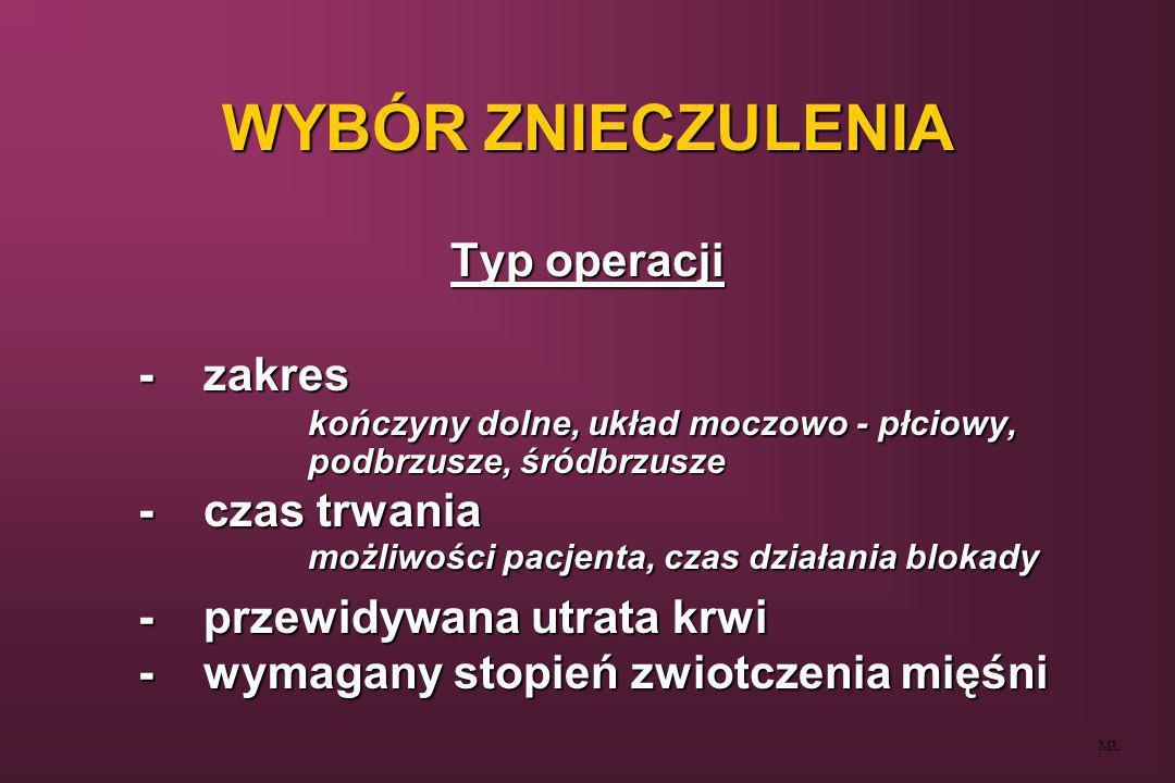 WYBÓR ZNIECZULENIA Typ operacji -zakres kończyny dolne, układ moczowo - płciowy, podbrzusze, śródbrzusze -czas trwania możliwości pacjenta, czas dział
