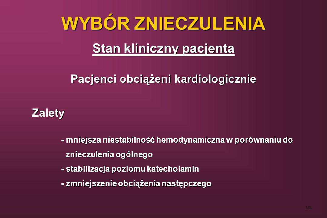 WYBÓR ZNIECZULENIA Stan kliniczny pacjenta MŁ Pacjenci obciążeni kardiologicznie Zalety - mniejsza niestabilność hemodynamiczna w porównaniu do zniecz