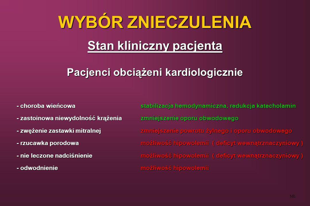WYBÓR ZNIECZULENIA Stan kliniczny pacjenta MŁ Pacjenci obciążeni chorobami układu oddechowego ( typ obturacyjny, restrykcyjny, reaktywny ) Zalety - minimalny wpływ na mechanikę oddychania - nie zmienia wrażliwości na CO 2 - uniknięcie środków wywołujących depresję oddechową - uniknięcie leków mogących wywołać skurcz oskrzeli - redukcja bólu pooperacyjnego