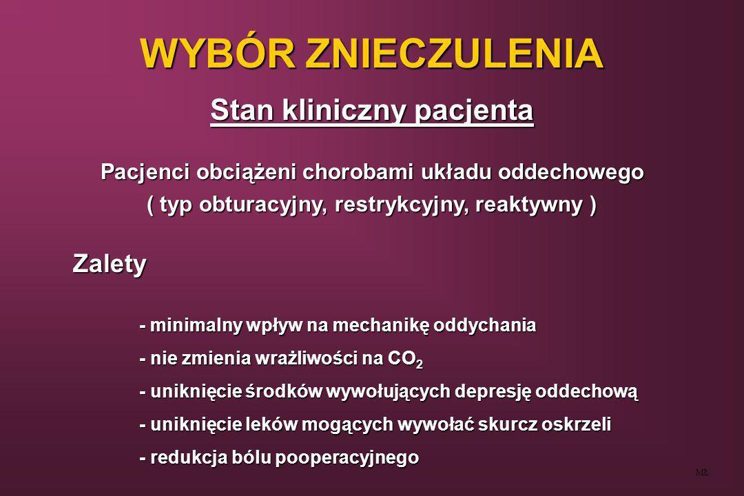 WYBÓR ZNIECZULENIA Stan kliniczny pacjenta MŁ Pacjenci obciążeni chorobami układu oddechowego ( typ obturacyjny, restrykcyjny, reaktywny ) Zalety - mi