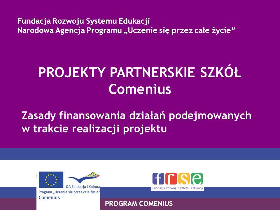 PROGRAM COMENIUS PROJEKTY PARTNERSKIE SZKÓŁ Comenius Zasady finansowania działań podejmowanych w trakcie realizacji projektu Fundacja Rozwoju Systemu