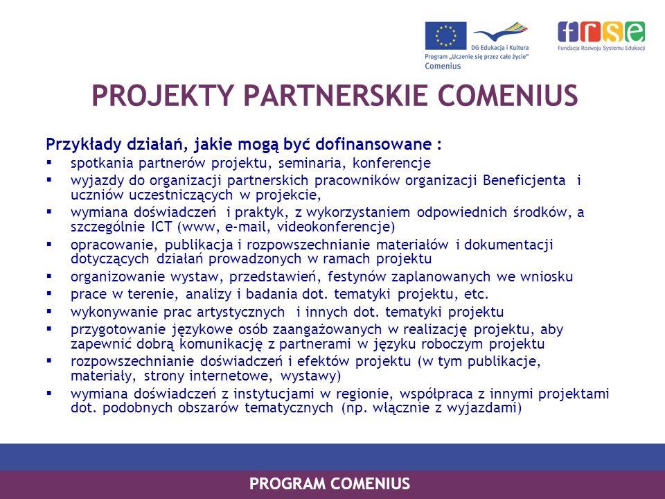 PROGRAM COMENIUS PROJEKTY PARTNERSKIE COMENIUS Przykłady działań, jakie mogą być dofinansowane : spotkania partnerów projektu, seminaria, konferencje