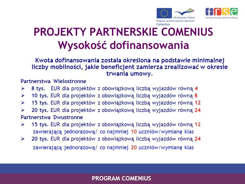 PROGRAM COMENIUS PROJEKTY PARTNERSKIE COMENIUS Wysokość dofinansowania Kwota dofinansowania została określona na podstawie minimalnej liczby mobilnośc