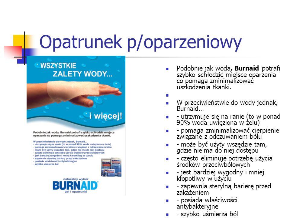 Opatrunek p/oparzeniowy Podobnie jak woda, Burnaid potrafi szybko schłodzić miejsce oparzenia co pomaga zminimalizować uszkodzenia tkanki. W przeciwie