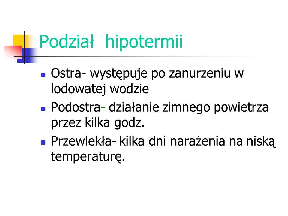 Podział hipotermii Ostra- występuje po zanurzeniu w lodowatej wodzie Podostra- działanie zimnego powietrza przez kilka godz. Przewlekła- kilka dni nar