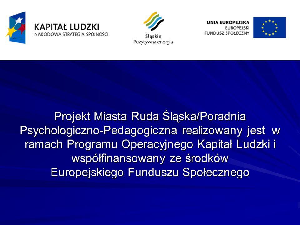 Projekt Miasta Ruda Śląska/Poradnia Psychologiczno-Pedagogiczna realizowany jest w ramach Programu Operacyjnego Kapitał Ludzki i współfinansowany ze ś