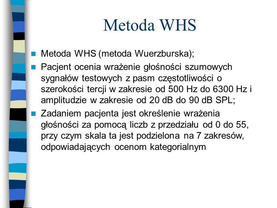 Metoda WHS Metoda WHS (metoda Wuerzburska); Pacjent ocenia wrażenie głośności szumowych sygnałów testowych z pasm częstotliwości o szerokości tercji w