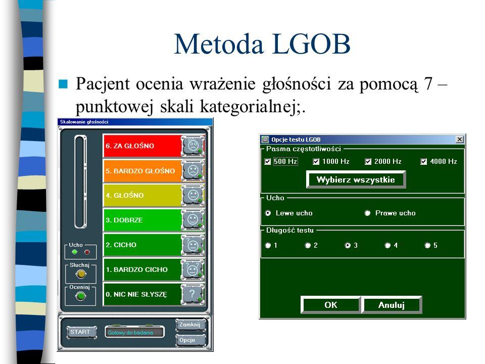 Metoda LGOB Pacjent ocenia wrażenie głośności za pomocą 7 – punktowej skali kategorialnej;.