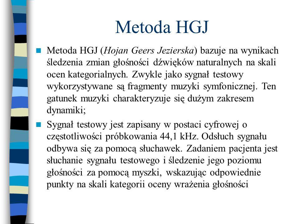 Metoda HGJ Metoda HGJ (Hojan Geers Jezierska) bazuje na wynikach śledzenia zmian głośności dźwięków naturalnych na skali ocen kategorialnych. Zwykle j