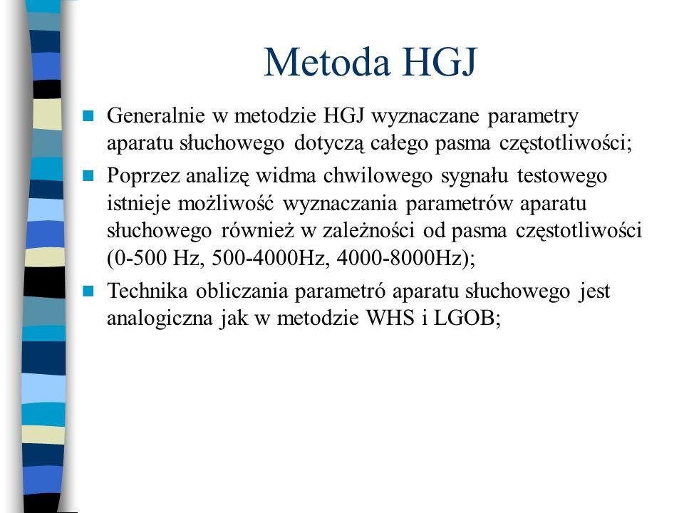 Generalnie w metodzie HGJ wyznaczane parametry aparatu słuchowego dotyczą całego pasma częstotliwości; Poprzez analizę widma chwilowego sygnału testow