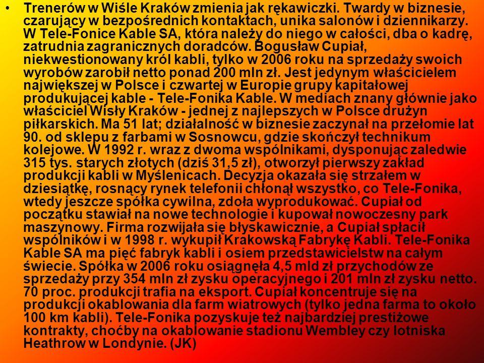 Trenerów w Wiśle Kraków zmienia jak rękawiczki. Twardy w biznesie, czarujący w bezpośrednich kontaktach, unika salonów i dziennikarzy. W Tele-Fonice K