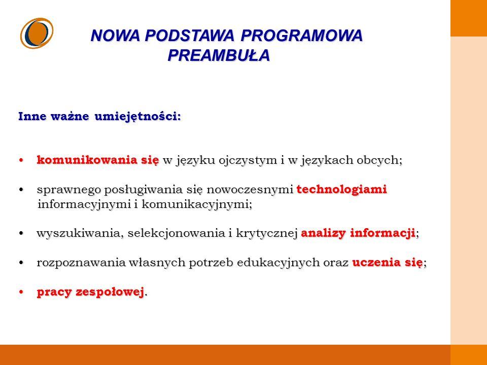EDUKACJA SKUTECZNA, PRZYJAZNA I NOWOCZESNA NOWA PODSTAWA PROGRAMOWA PREAMBUŁA Jednym z najważniejszych zadań szkoły jest kształcenie umiejętności posługiwania się językiem polskim, w tym dbałość o wzbogacanie zasobu słownictwa uczniów.