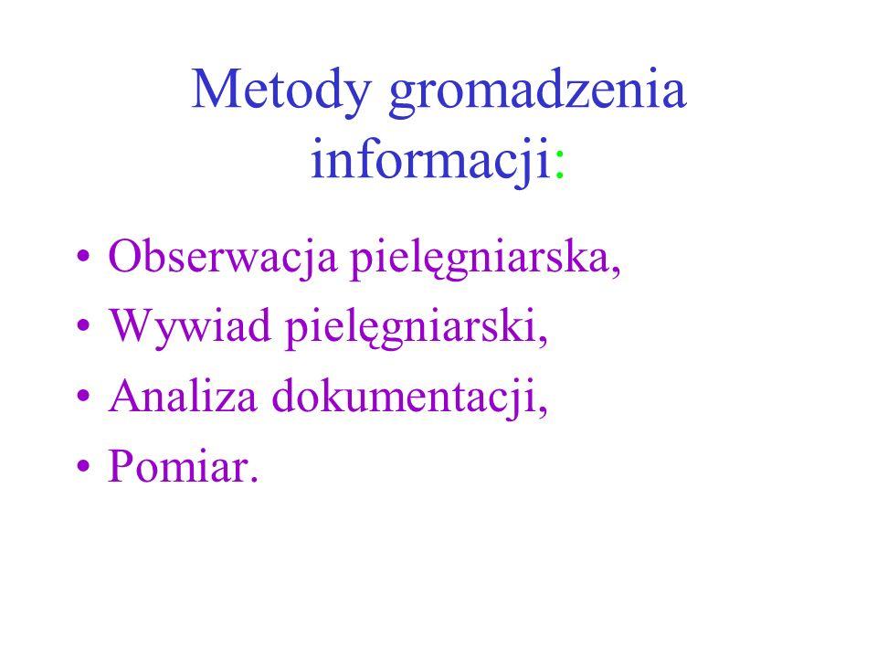 Metody gromadzenia informacji: Obserwacja pielęgniarska, Wywiad pielęgniarski, Analiza dokumentacji, Pomiar.