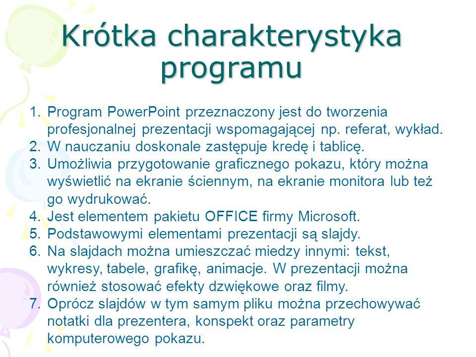 Krótka charakterystyka programu 1.Program PowerPoint przeznaczony jest do tworzenia profesjonalnej prezentacji wspomagającej np. referat, wykład. 2.W
