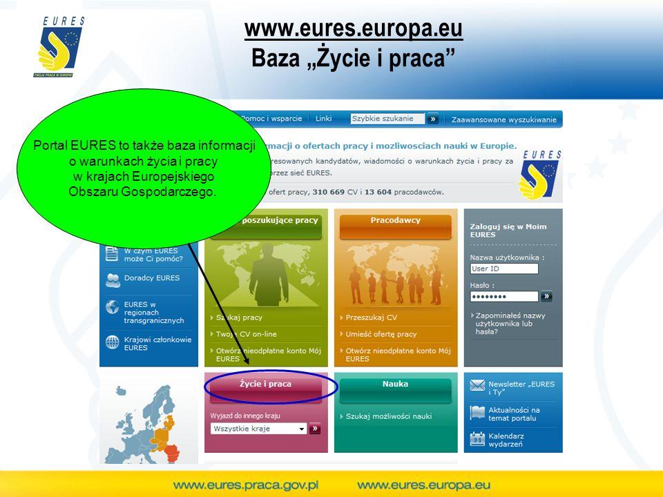 www.eures.europa.eu Baza Życie i praca Portal EURES to także baza informacji o warunkach życia i pracy w krajach Europejskiego Obszaru Gospodarczego.