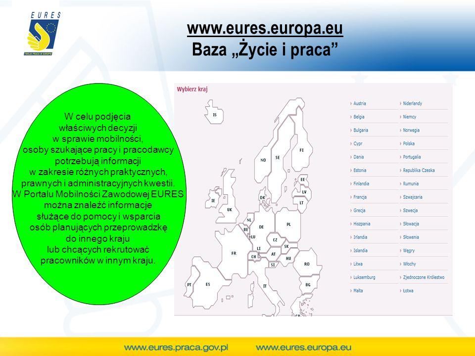 www.eures.europa.eu Baza Życie i praca W celu podjęcia właściwych decyzji w sprawie mobilności, osoby szukające pracy i pracodawcy potrzebują informac