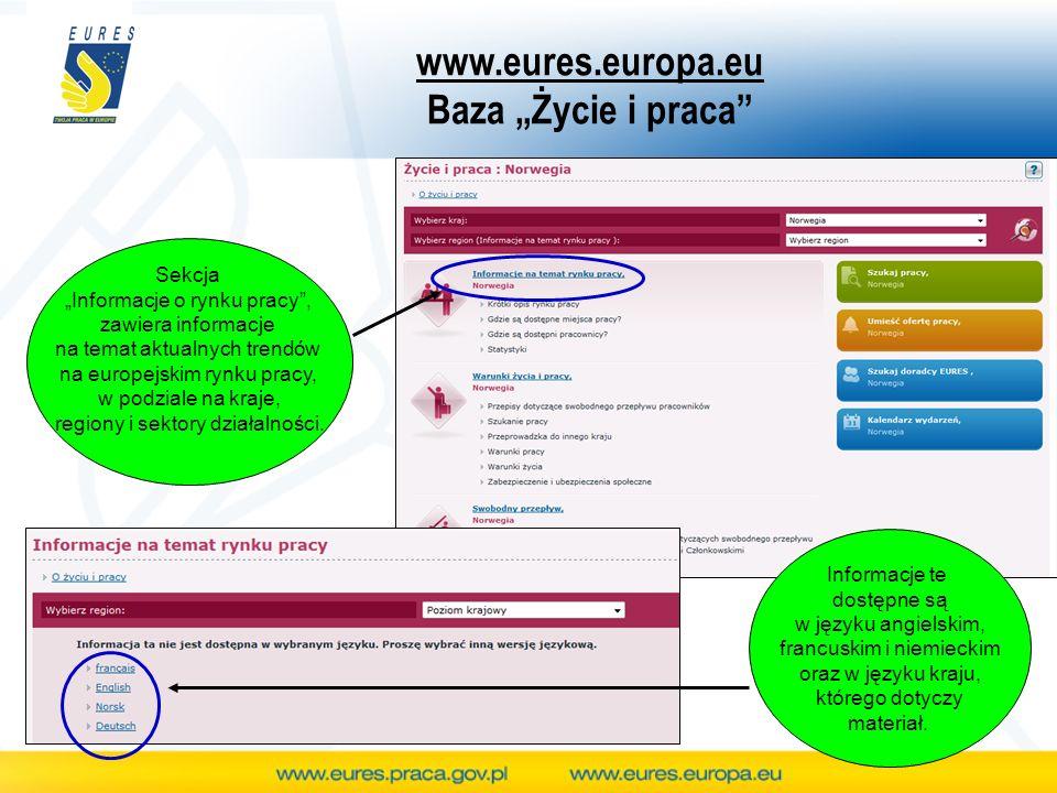 www.eures.europa.eu Baza Życie i praca Sekcja Informacje o rynku pracy, zawiera informacje na temat aktualnych trendów na europejskim rynku pracy, w p