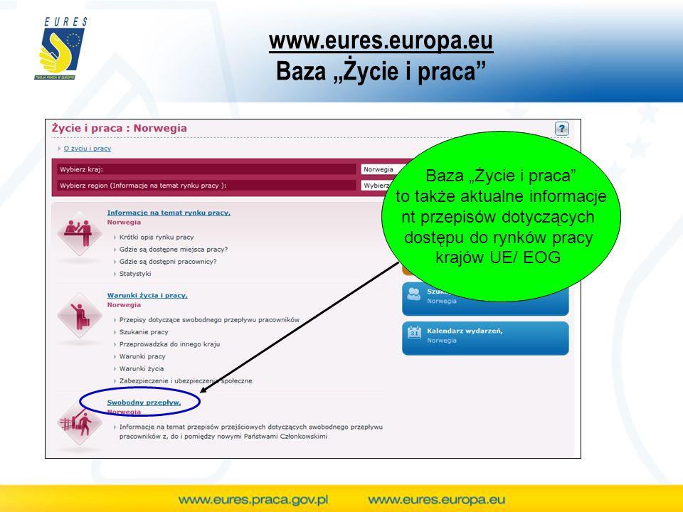 www.eures.europa.eu Baza Życie i praca Baza Życie i praca to także aktualne informacje nt przepisów dotyczących dostępu do rynków pracy krajów UE/ EOG