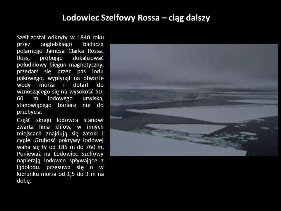 Lodowiec Szelfowy Rossa Lodowiec Szelfowy Rossa to ogromny, trójkątny pokład lodu, wypełniający niemal całkowicie zatokę u wybrzeży Antarktydy. Jest t