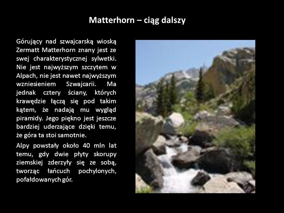 Matterhorn Pierwszą zakończoną powodzeniem wyprawę na Matterhorn poprowadził w roku 1865 angielski alpinista Edward Whymper. To pierwsze udane wejście