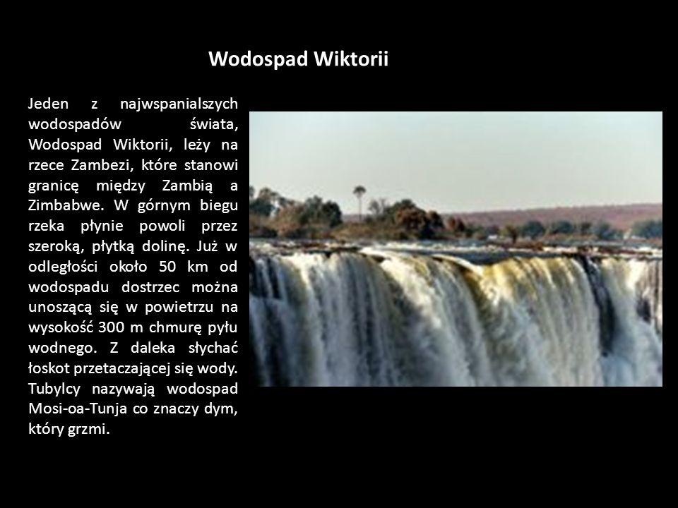 Wodospad Wiktorii Jeden z najwspanialszych wodospadów świata, Wodospad Wiktorii, leży na rzece Zambezi, które stanowi granicę między Zambią a Zimbabwe.