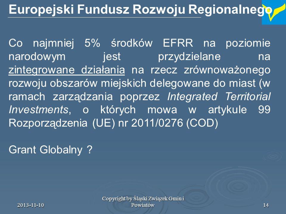 2013-11-10 Copyright by Śląski Związek Gmin i Powiatów15 Integrated Territorial Investments, o których mowa w artykule 99 Rozporządzenia (UE) nr 2011/0276 (COD) Artykuł 99 Zintegrowane inwestycje terytorialne W przypadku gdy strategia rozwoju obszarów miejskich bądź inne strategie lub pakty terytorialne, zgodnie z definicją w art.