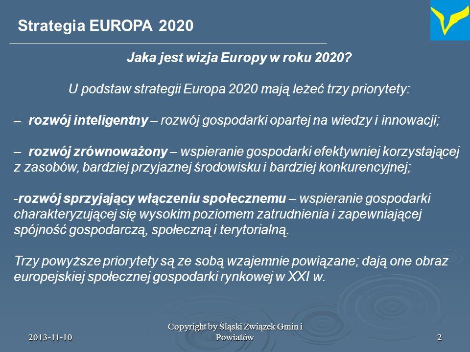 2013-11-10 Copyright by Śląski Związek Gmin i Powiatów3 UE powinna uzgodnić ograniczoną liczbę wymiernych celów na rok 2020.