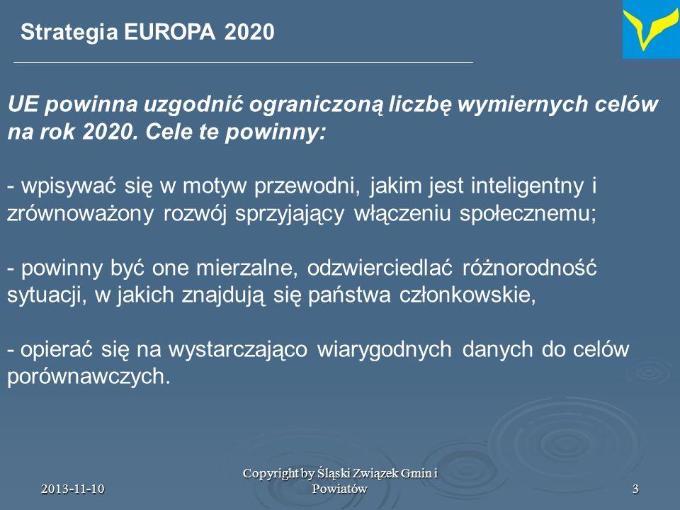 2013-11-10 Copyright by Śląski Związek Gmin i Powiatów4 Strategia EUROPA 2020 Na tej podstawie wybrano następujące cele – od ich osiągnięcia zależeć będzie sukces do roku 2020: – zwiększyć stopę zatrudnienia osób w wieku 20-64 lat z obecnych, 69% do co najmniej 75%; – osiągnąć poziom inwestycji w działalność badawczo-rozwojową równy 3% PKB, przede wszystkim poprzez poprawę warunków inwestowania w B+R przez sektor prywatny i opracowanie nowego wskaźnika umożliwiającego śledzenie procesów innowacji;