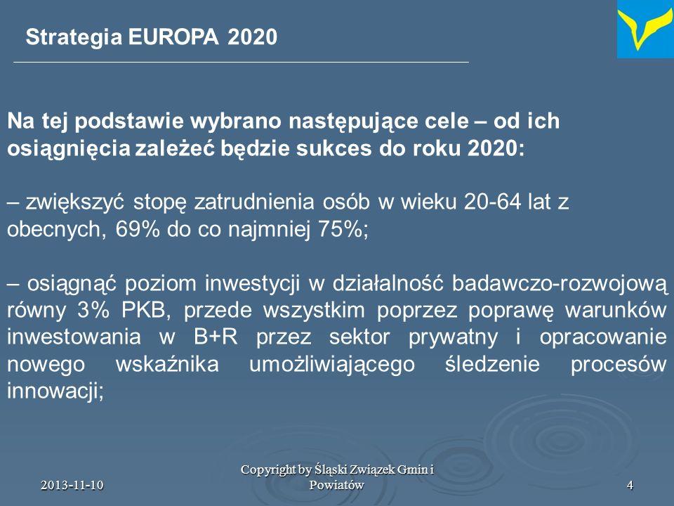 2013-11-10 Copyright by Śląski Związek Gmin i Powiatów5 Strategia EUROPA 2020 – ograniczyć emisję dwutlenku węgla, co najmniej o 20% w porównaniu z poziomem z 1990 r.