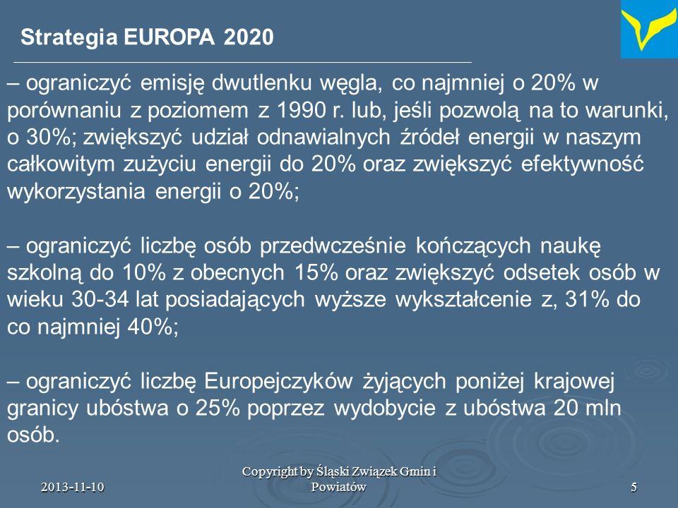 2013-11-10 Copyright by Śląski Związek Gmin i Powiatów6 Wymiar miejski polityki spójności dotychczas wymiar miejski do 2006: Inicjatywa Wspólnotowa URBAN Efekty URBANA: Acquis URBAN wymiar miejski 2007-2013: mainstreaming (włączenie do głównego nurtu polityki) z czego wynika potrzeba wymiaru miejskiego: głosy w dotychczasowej debacie