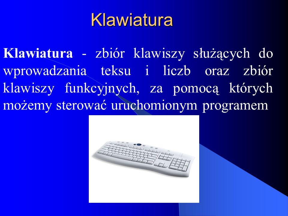 Klawiatura Klawiatura - zbiór klawiszy służących do wprowadzania teksu i liczb oraz zbiór klawiszy funkcyjnych, za pomocą których możemy sterować uruchomionym programem