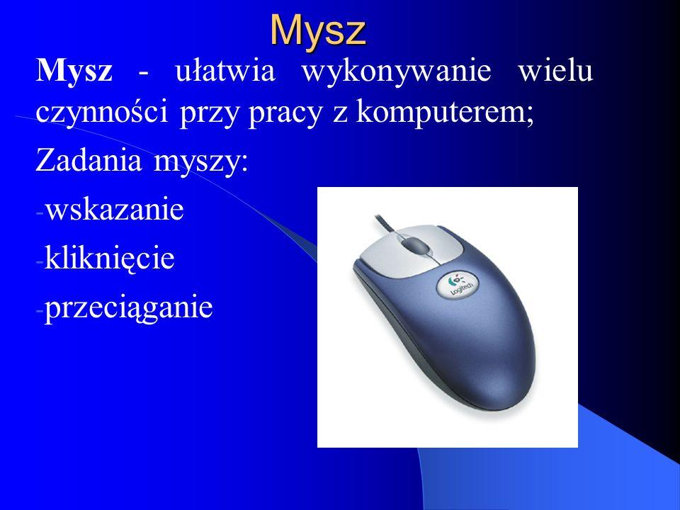 Mysz Mysz - ułatwia wykonywanie wielu czynności przy pracy z komputerem; Zadania myszy: - wskazanie - kliknięcie - przeciąganie