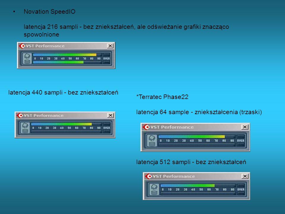 Novation SpeedIO latencja 216 sampli - bez zniekształceń, ale odświeżanie grafiki znacząco spowolnione latencja 440 sampli - bez zniekształceń *Terrat