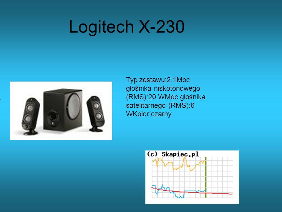 Logitech X-230 Typ zestawu:2.1Moc głośnika niskotonowego (RMS):20 WMoc głośnika satelitarnego (RMS):6 WKolor:czarny