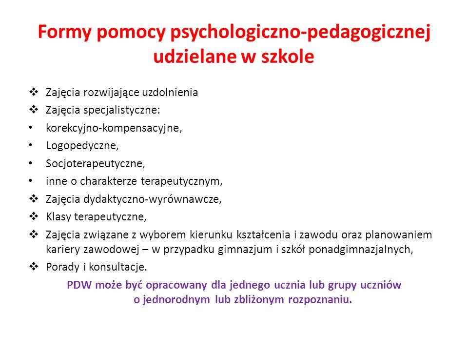 Formy pomocy psychologiczno-pedagogicznej udzielane w szkole Zajęcia rozwijające uzdolnienia Zajęcia specjalistyczne: korekcyjno-kompensacyjne, Logope