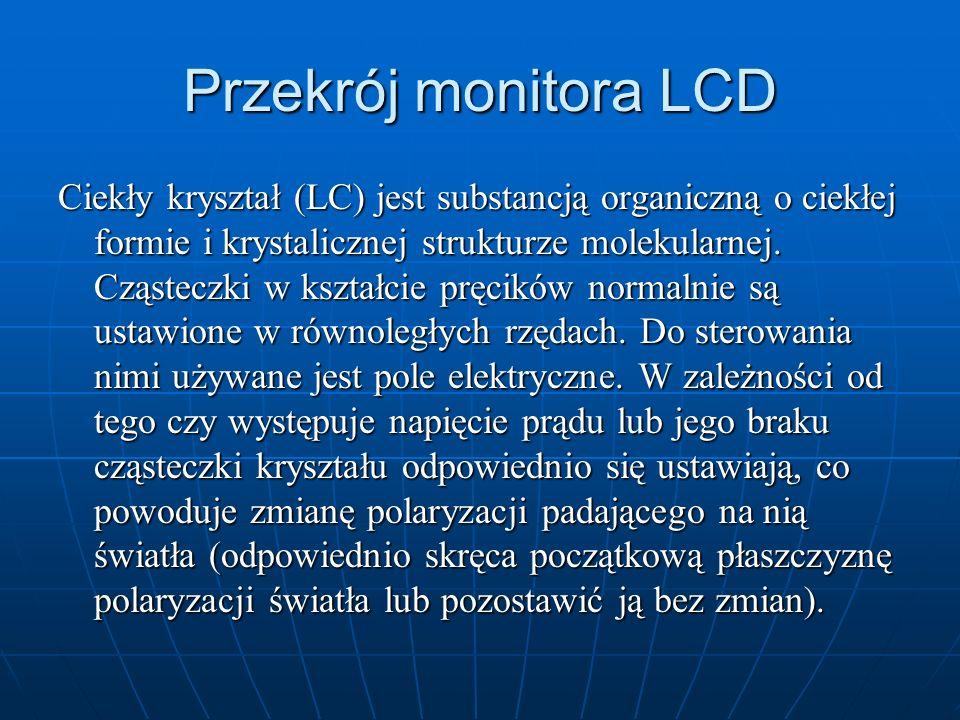 Przekrój monitora LCD Ciekły kryształ (LC) jest substancją organiczną o ciekłej formie i krystalicznej strukturze molekularnej. Cząsteczki w kształcie