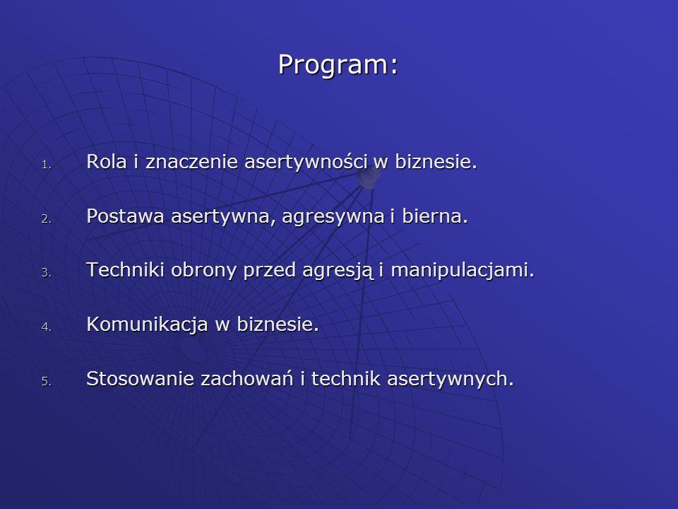 Program: 1. Rola i znaczenie asertywności w biznesie. 2. Postawa asertywna, agresywna i bierna. 3. Techniki obrony przed agresją i manipulacjami. 4. K