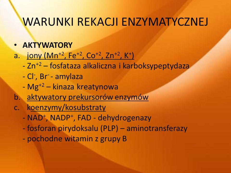 WARUNKI REKACJI ENZYMATYCZNEJ AKTYWATORY a.jony (Mn +2, Fe +2, Co +2, Zn +2, K + ) - Zn +2 – fosfataza alkaliczna i karboksypeptydaza - Cl -, Br - - a