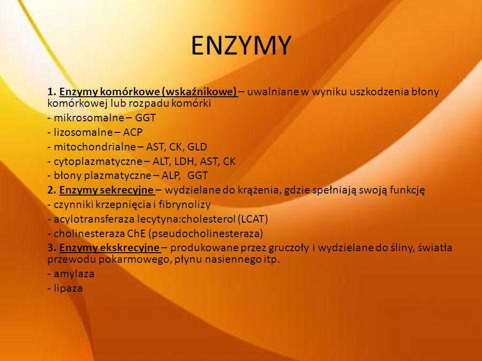 ENZYMY 1. Enzymy komórkowe (wskaźnikowe) – uwalniane w wyniku uszkodzenia błony komórkowej lub rozpadu komórki - mikrosomalne – GGT - lizosomalne – AC