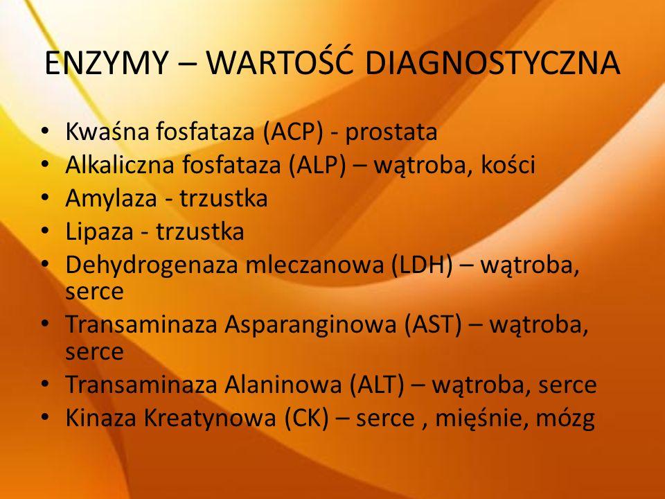 ENZYMY – WARTOŚĆ DIAGNOSTYCZNA Kwaśna fosfataza (ACP) - prostata Alkaliczna fosfataza (ALP) – wątroba, kości Amylaza - trzustka Lipaza - trzustka Dehy