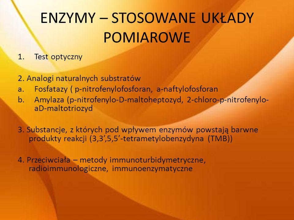 ENZYMY – STOSOWANE UKŁADY POMIAROWE 1.Test optyczny 2. Analogi naturalnych substratów a.Fosfatazy ( p-nitrofenylofosforan, a-naftylofosforan b.Amylaza