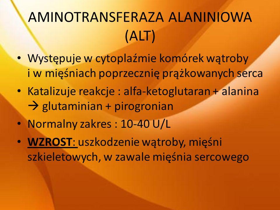 AMINOTRANSFERAZA ALANINIOWA (ALT) Występuje w cytoplaźmie komórek wątroby i w mięśniach poprzecznię prążkowanych serca Katalizuje reakcje : alfa-ketog