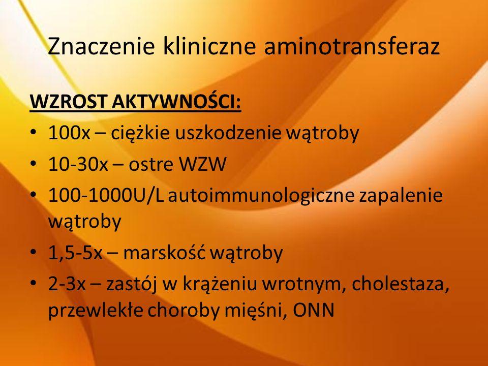 Znaczenie kliniczne aminotransferaz WZROST AKTYWNOŚCI: 100x – ciężkie uszkodzenie wątroby 10-30x – ostre WZW 100-1000U/L autoimmunologiczne zapalenie