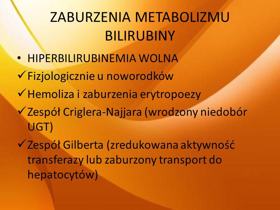 ZABURZENIA METABOLIZMU BILIRUBINY HIPERBILIRUBINEMIA WOLNA Fizjologicznie u noworodków Hemoliza i zaburzenia erytropoezy Zespół Criglera-Najjara (wrod