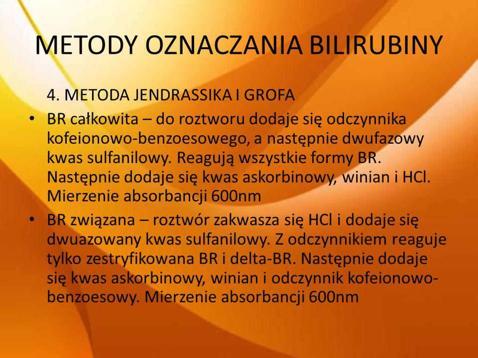 METODY OZNACZANIA BILIRUBINY 4. METODA JENDRASSIKA I GROFA BR całkowita – do roztworu dodaje się odczynnika kofeionowo-benzoesowego, a następnie dwufa