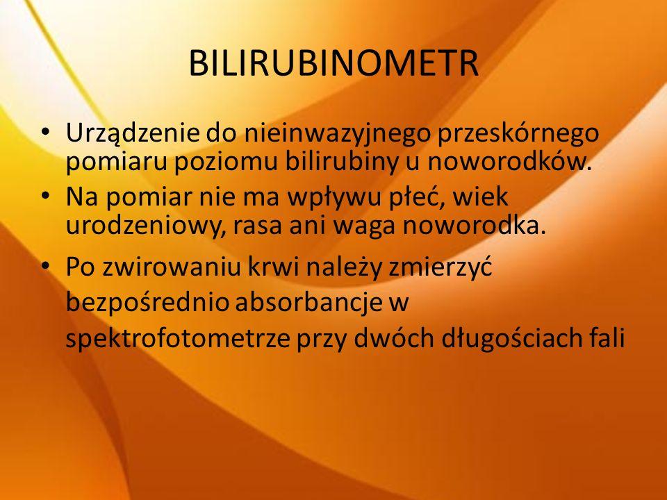 BILIRUBINOMETR Urządzenie do nieinwazyjnego przeskórnego pomiaru poziomu bilirubiny u noworodków. Na pomiar nie ma wpływu płeć, wiek urodzeniowy, rasa