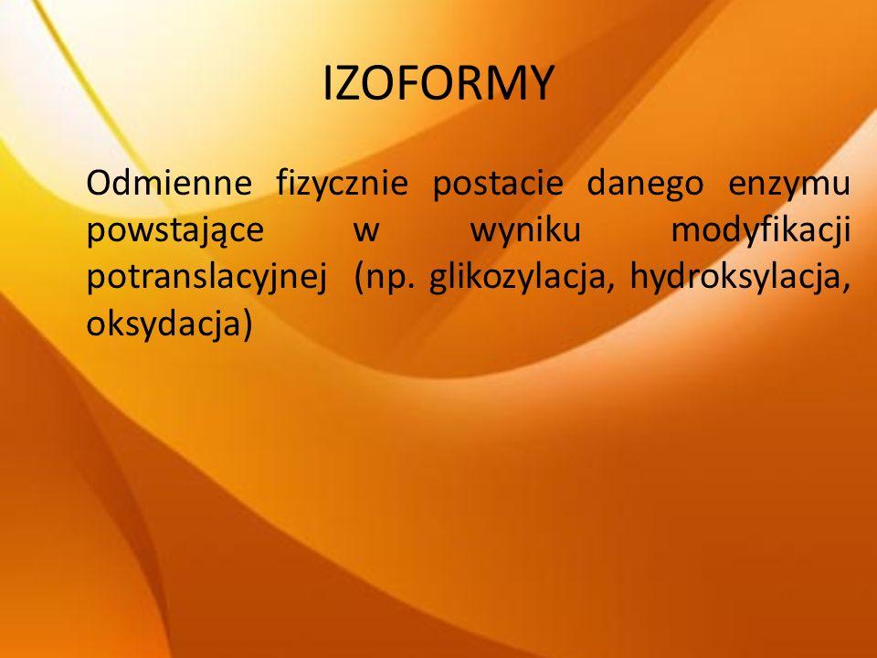 IZOFORMY Odmienne fizycznie postacie danego enzymu powstające w wyniku modyfikacji potranslacyjnej (np. glikozylacja, hydroksylacja, oksydacja)