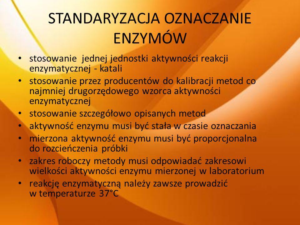 STANDARYZACJA OZNACZANIE ENZYMÓW stosowanie jednej jednostki aktywności reakcji enzymatycznej - katali stosowanie przez producentów do kalibracji meto