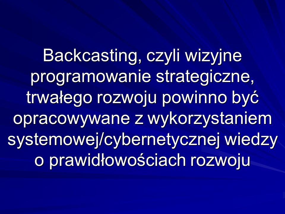 Backcasting, czyli wizyjne programowanie strategiczne, trwałego rozwoju powinno być opracowywane z wykorzystaniem systemowej/cybernetycznej wiedzy o prawidłowościach rozwoju